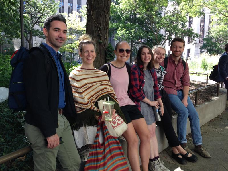 From L to R: Studio 360 producers Matt Frassica and Julia Lowrie Henderson with interns Joaquin Cotler, Emily Marinoff, Juliet Mueller, and Kestrel Wogelmuth