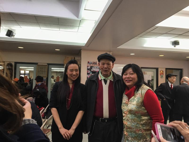 Yuh-Line Niou (R) a candidate running for the 65th Assembly District campaigns at a senior center in Chinatown.
