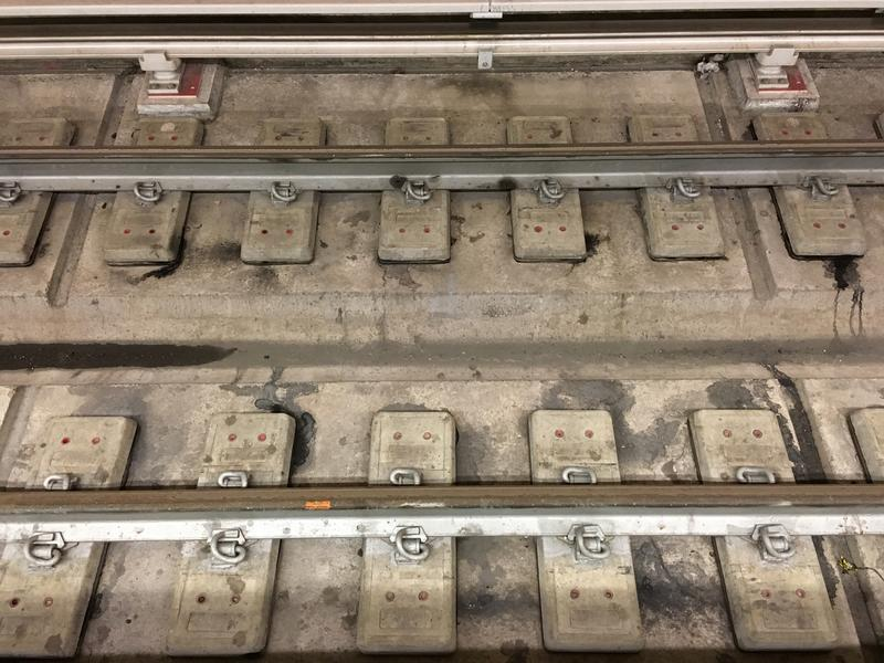 The concrete ties on the Second Avenue subway have individual concrete boots that are encased in rubber that mitigates the vibration of the trains. The MTA said these are cheaper than other ties.