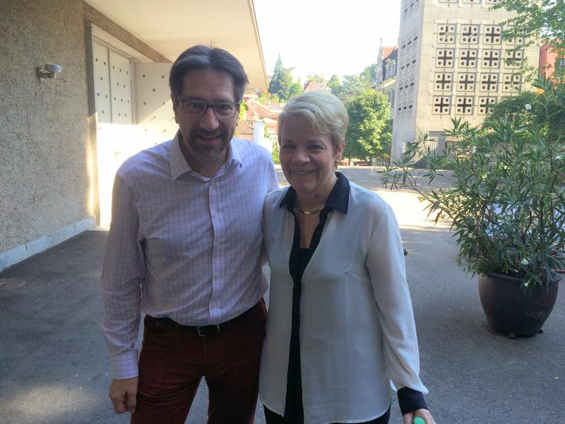 WQXR's Jeff Spurgeon with conductor Marin Alsop at the Lucerne Festival.