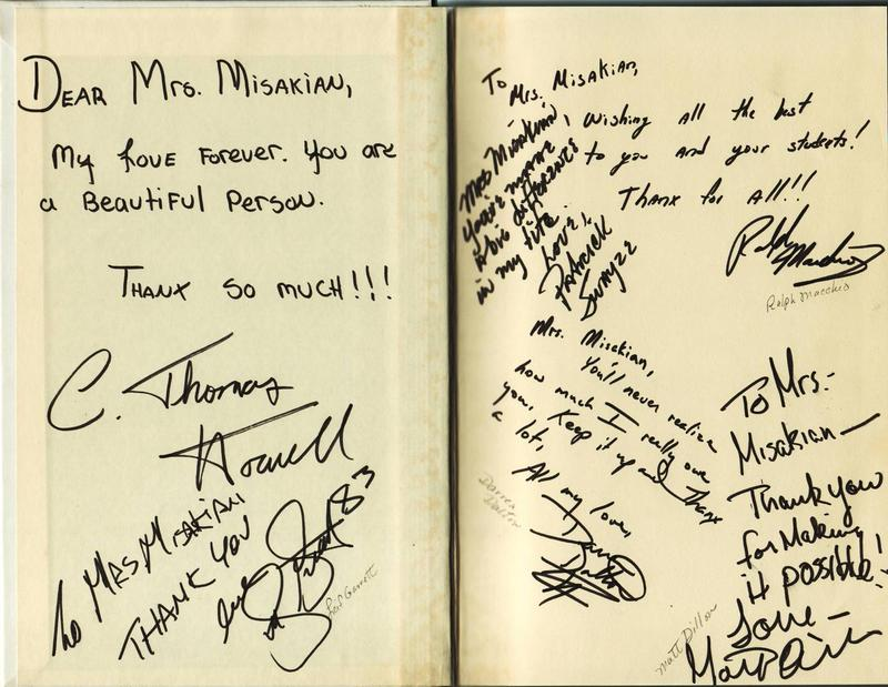 Misakian's own copy of 'The Outsiders,' with autographs from the cast of the movie