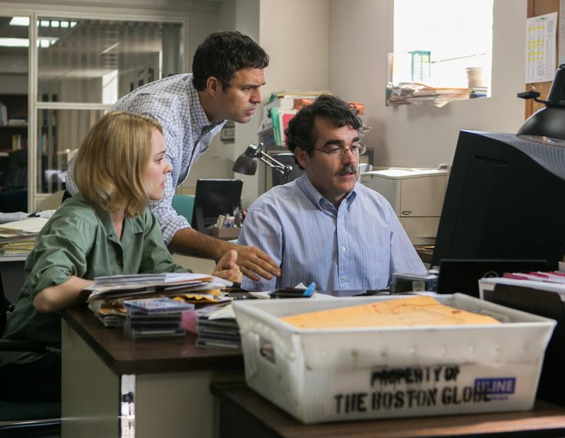Rachel McAdams, Mark Ruffalo and Brian d'Arcy James are reporters for the Boston Globe in the Oscar-nominated film Spotlight
