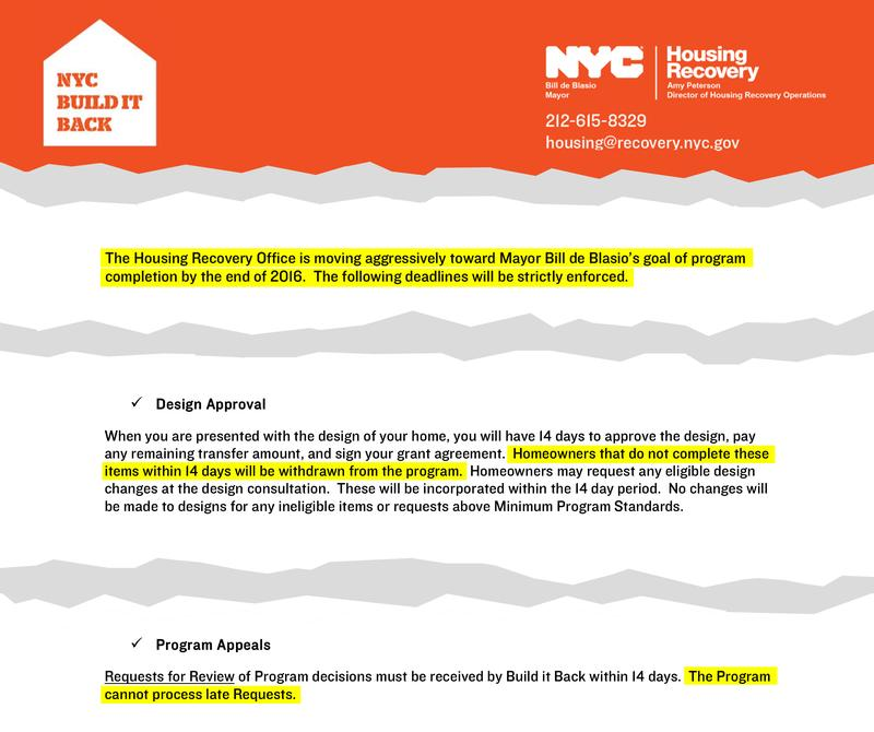 public notice from build it back indicating the link between mayor de blasios goal to complete