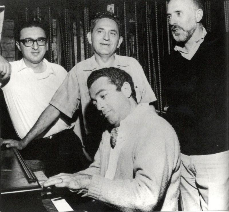 "The creative team behind ""Fiddler on the Roof"" from L to R:  Sheldon Harnick, Joe Stein, Jerry Bock (at piano) and Jerome Robbins"