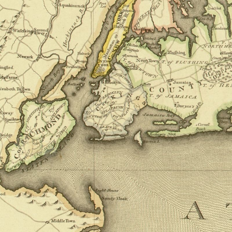 An 1802 map, showing the first marsh islands in Jamaica Bay.