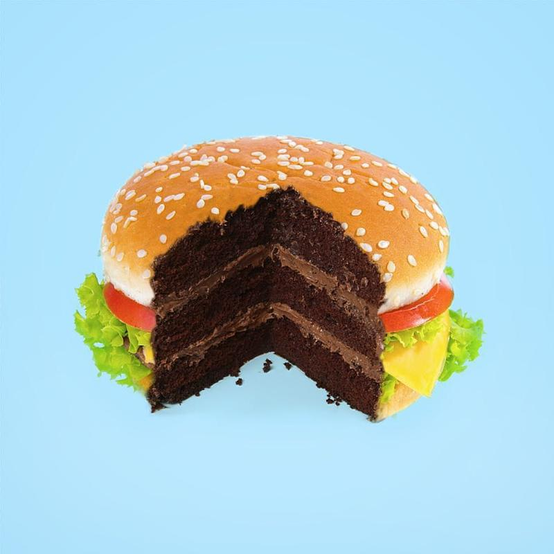 Paul Fuentes' pop art mash up of a burger and cake