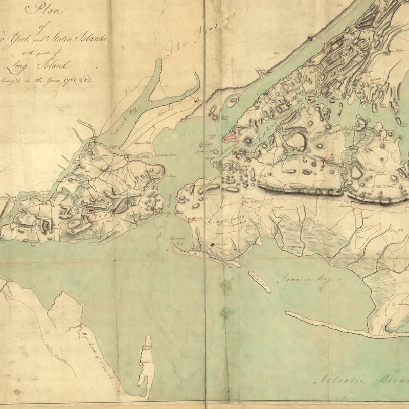 A 1781 map showing an elongated Rockaway Peninsula, Barren Island (now Floyd Bennett Field), but no interior islands.