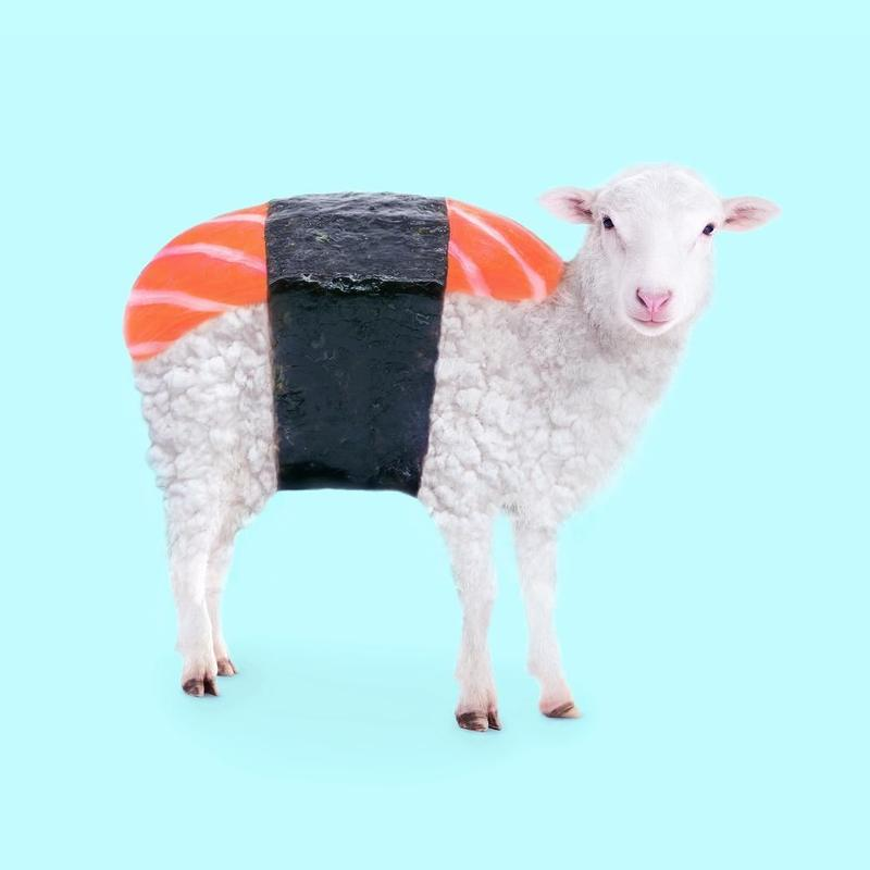 A pop art mash up of a sheep and sushi by Paul Fuentes