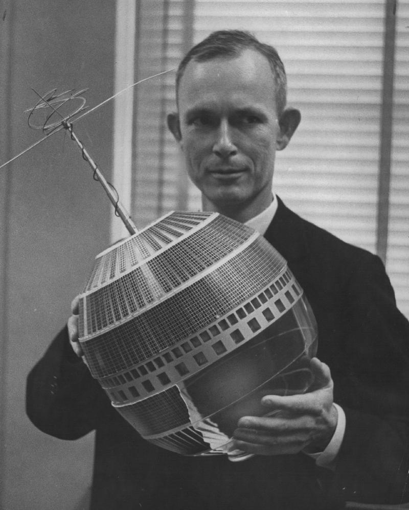 DEC 7 1961; Jean H.. Felker Holds Scale Model Of Telstar; He calls satellite 'a sort of onion in the sky.'; (Photo By Cloyd Teter/The Denver Post via Getty Images)