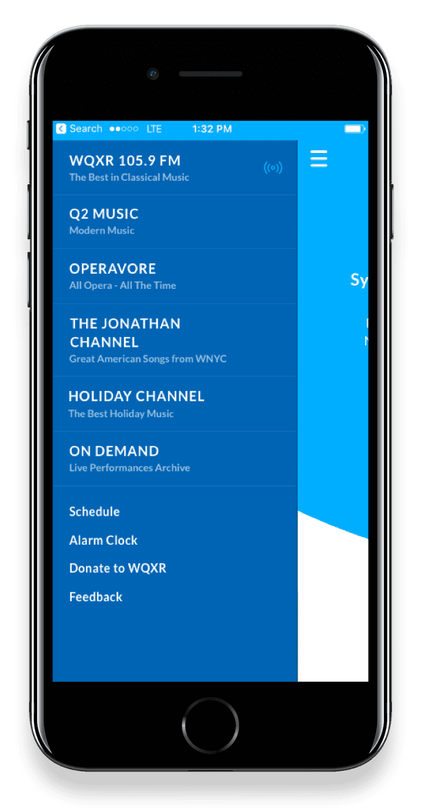 App screen showing streams