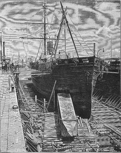 Cleopatra's Needle being loaded into the hull of the Dessoug.