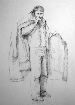 Melinda Hunt's sketch of Kazimierz Szymanski, an immigrant from Poland who was buried at Hart Island in July 1998