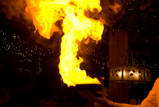 Flaming Cheese in Greektown