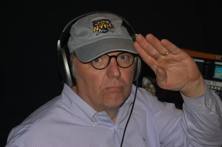 John Hockenberry in his new NYPD Cricket team hat