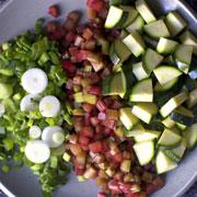 scallions, rhubarb, zucchini