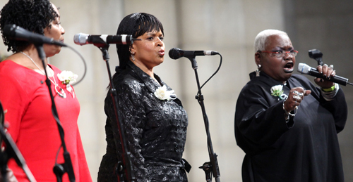 Musical group Sweet Honey in the Rock perform at the memorial celebration for Odetta at Riverside Church on February 24, 2009 in New York City. (Astrid Stawiarz/Getty Images)