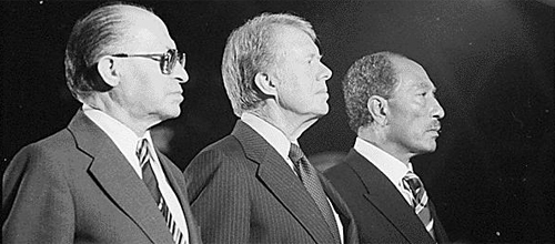 Menachem Begin, Jimmy Carter and Anwar Sadat at Camp David, 1978.