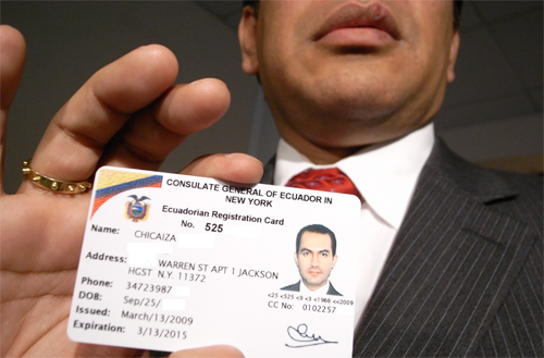 Jorge Lopez displays an I.D. card issued by the Consulate General of Ecuador that would be accepted as a valid form of identification at all banks if this legislation passes.