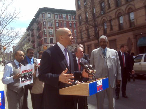 Newark Mayor Cory Booker comes to Harlem to endorse Bloomberg.