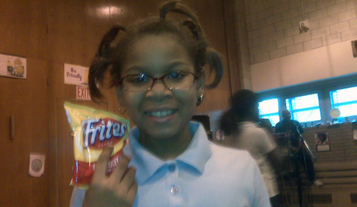 Jashira johnson, age 8, at Earth Day party at P.S. 208 in Harlem which used all recyclable party favors.