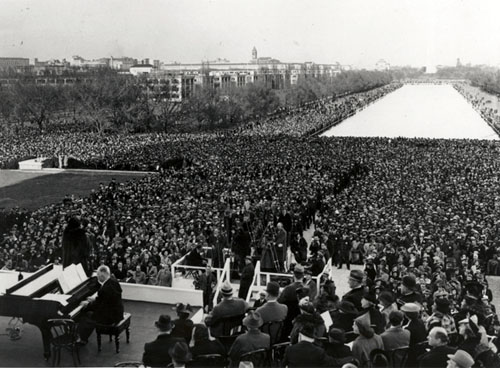 American contralto Marian Anderson performs in front of 75,000 spectators. Finnish accompanist Kosti Vehanen is on the piano.
