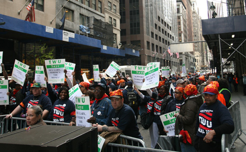 Protesters from Transport Workers Union 100 lined Madison Avenue.