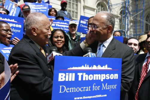 Former Mayor David Dinkins endorses Mayoral Candidate William Thompson on the steps of city hall