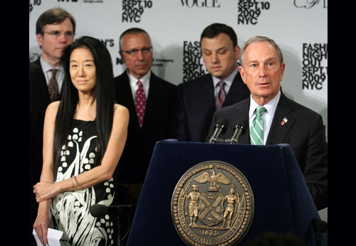 Designer Vera Wang and others join Mayor Bloomberg to announce a special stay-open-late night for stores in September, when fall Fashion Week gets underway. (Spencer T Tucker)