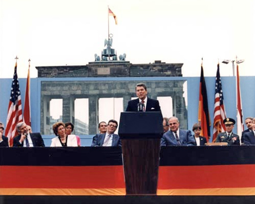 President Ronald Reagan speaking before the Brandenburg Gate.