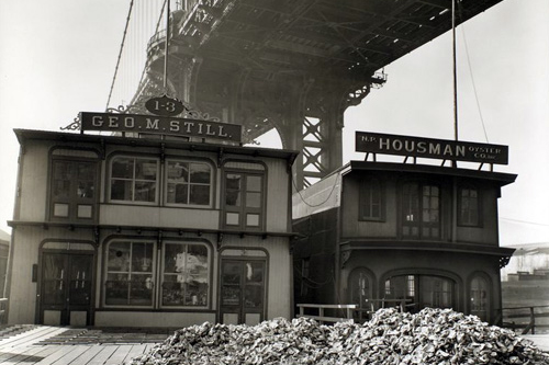 Oyster Houses, South Street and Pike Slip, under the Manhattan Bridge. (April 01, 1937)