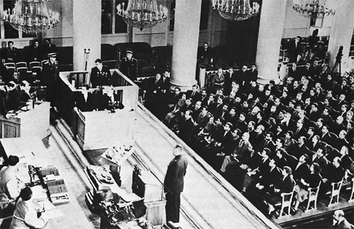 The trial of Francis Gary Powers in Moscow in August, 1960.