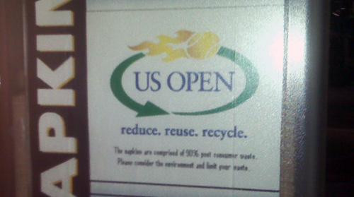 New recycling logos are on napkin dispensers that only issue one napkin at a time, to keep down waste.