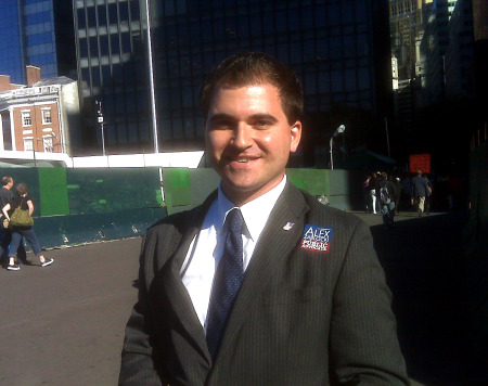 Alex Zablocki, Republican candidate for Public Advocate, greeting voters at the Staten Island Ferry terminal in Manhattan.  (by Beth Fertig)
