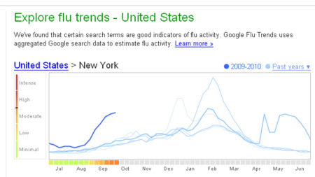 Google.org flu trends chart for New York