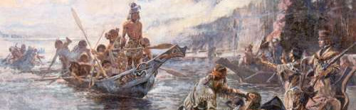 """""""Lewis and Clark on the Lower Columbia"""" by Charles Marion Russell 1905."""