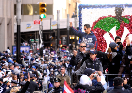 Yankee Jorge Posada celebrates on a float during the Yankees World Series Victory Parade (Michael Loccisano/Getty Images)