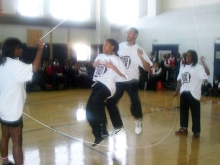 The Stan's Pepper Steppers performing at Thurgood Marshall Academy (photo by Karen Clements)