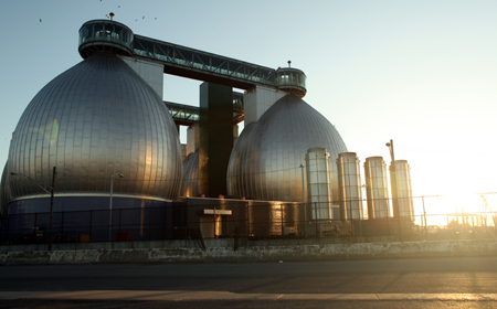 Wastewater treatment facility near the Newtown Creek