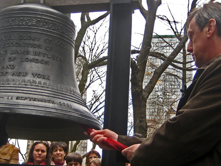 "Russian Consul General Andrey Yushmanov ringing the ""Bell of Hope""(Photo by Chine Labbe)"