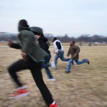 The Boys running on the Mall