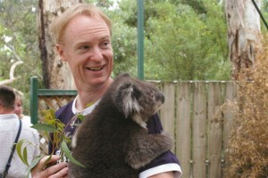 John Schaefer and a cuddly friend in near Adelaide, Australia